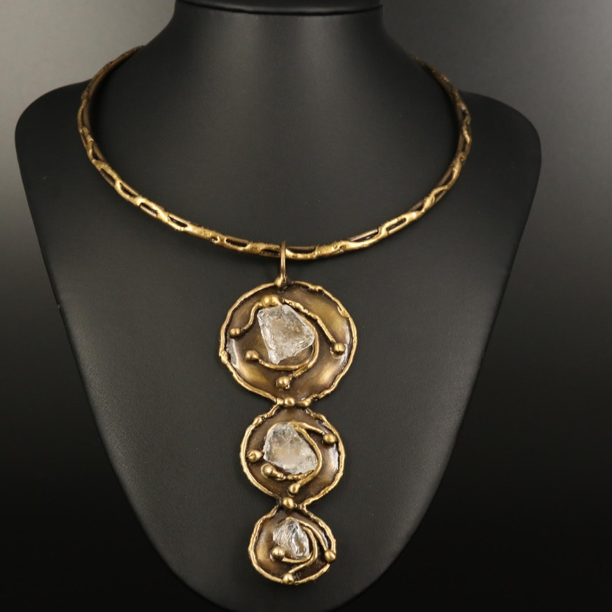 Brutalist Art Glass Graduated Pendant Collar Necklace