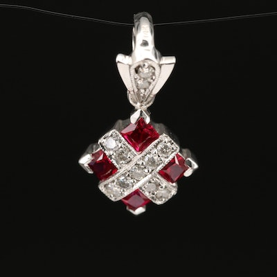 14K Ruby and Diamond Pendant with Milgrain Accents