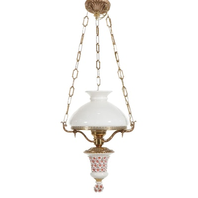 Porcelain and Brass Oil Lamp Pendant Light, Mid/Late 20th Century