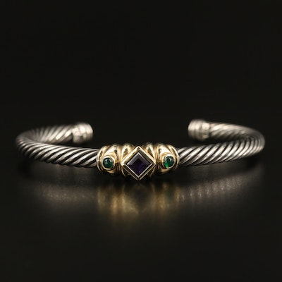 "David Yurman ""Renaissance"" Sterling Amethyst and Chalcedony Cuff with 14K Accent"