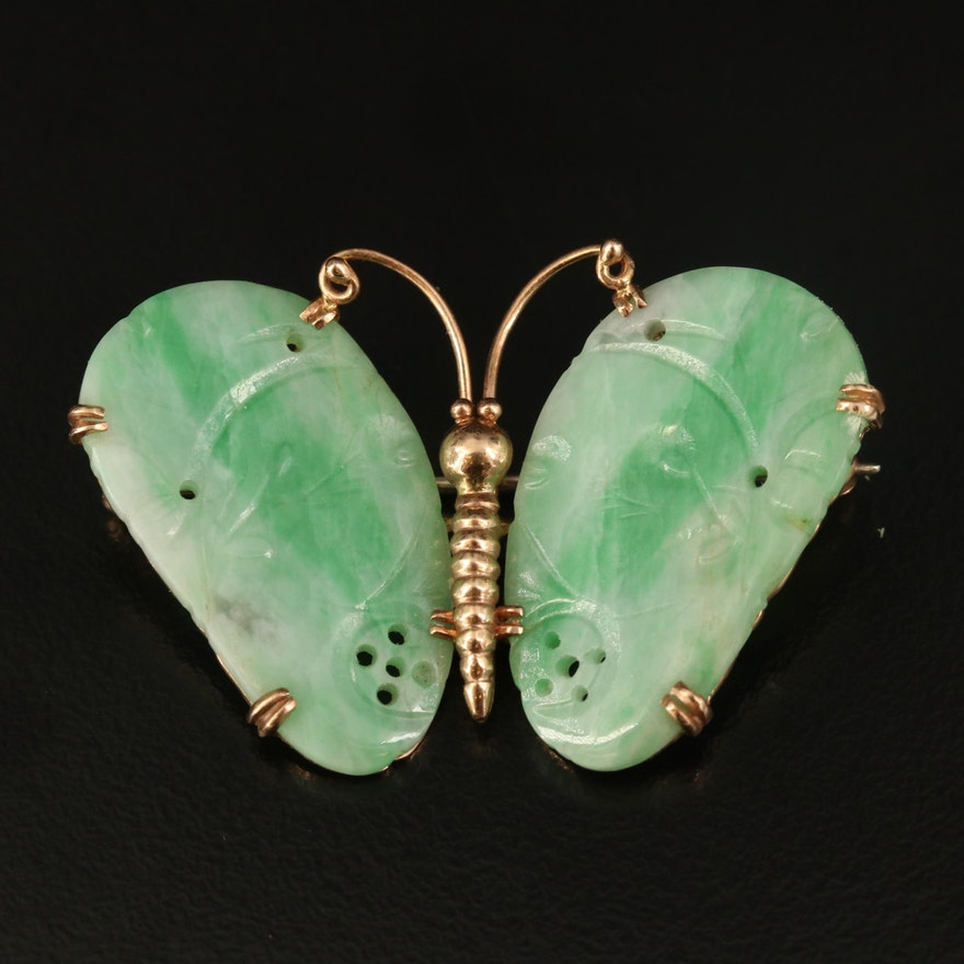 14K Jadeite Butterfly Converter Brooch