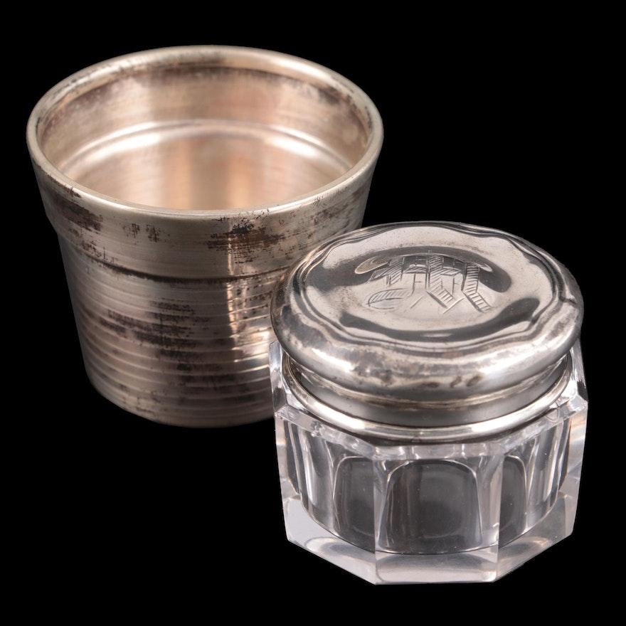 Cartier Sterling Silver Ramekin with Sterling Silver Lidded Powder Jar