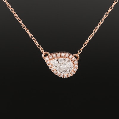 10K Rose Gold Diamond East-West Cluster Necklace