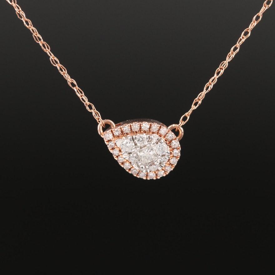 10K Rose Gold Diamond East-West Cluster Necklace