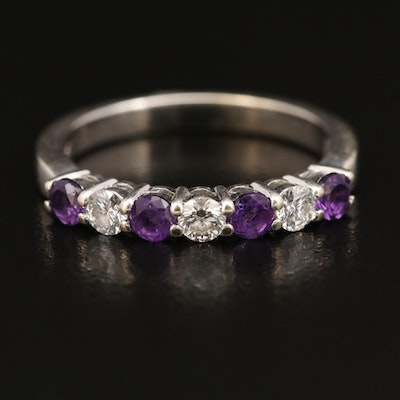 14K Amethyst and Diamond Band