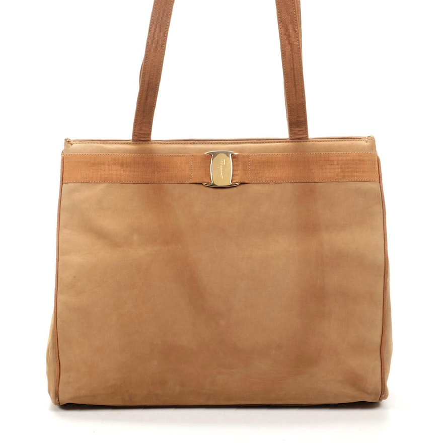 Salvatore Ferragamo Shoulder Bag in Tan Suede Leather and Grosgrain