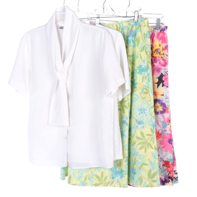 White Blouses and Floral Skirts Including Yves St. Clair
