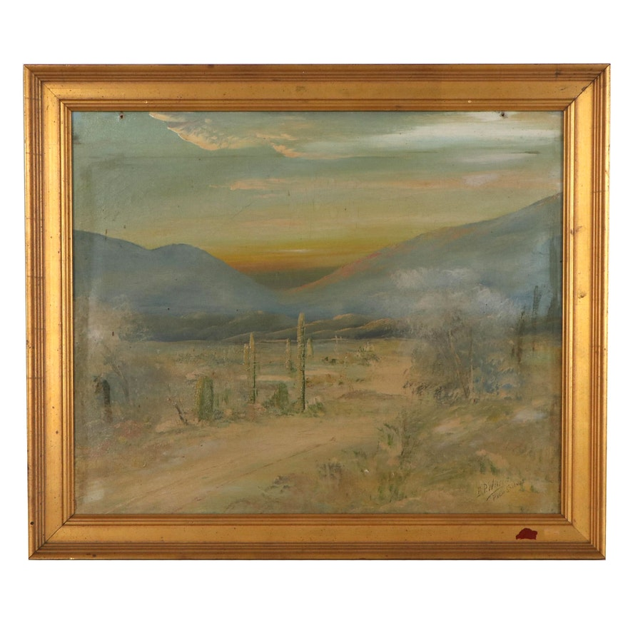 """Desert Landscape Oil Painting """"Palm Springs,"""" Early 20th Century"""