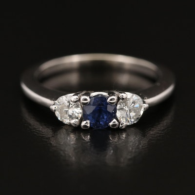 14K Diamond and Sapphire Three Stone Ring