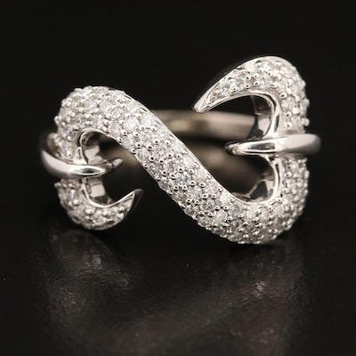 """Jane Seymour """"Open Heart"""" 14K Diamond Ring"""