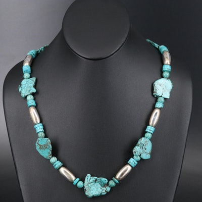 Southwestern Sterling and Magnesite Beaded Necklace
