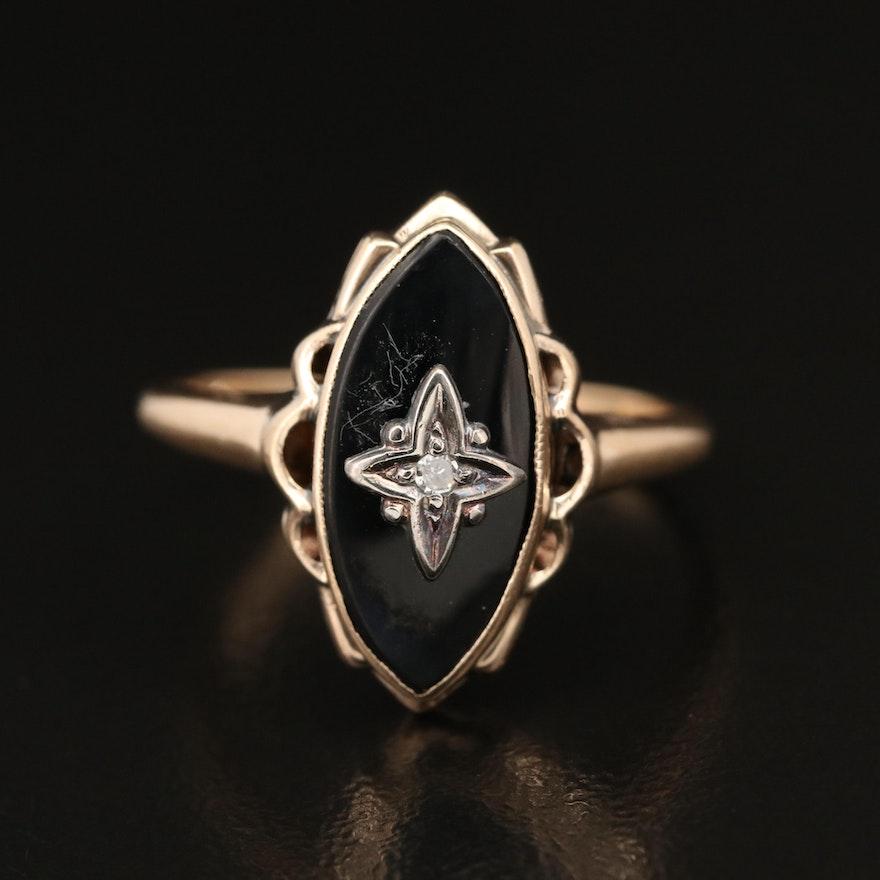 10K Black Onyx and Diamond Navette Ring