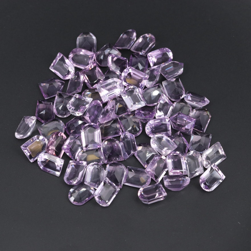 Loose 124.99 CTW Bullet Faceted and Modified Window Faceted Amethysts