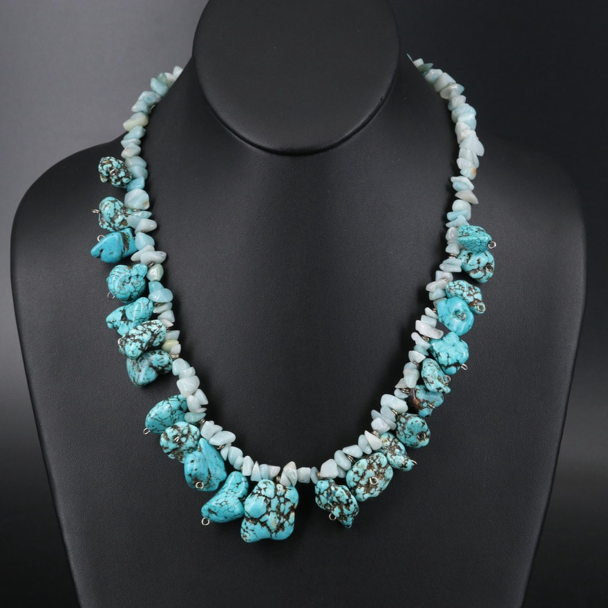 Magnesite and Quartzite Nugget Fringe Necklace