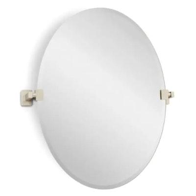 "Signature Hardware ""Helsinki 23"" Oval Beveled Edge Vanity Mirror, Contemporary"