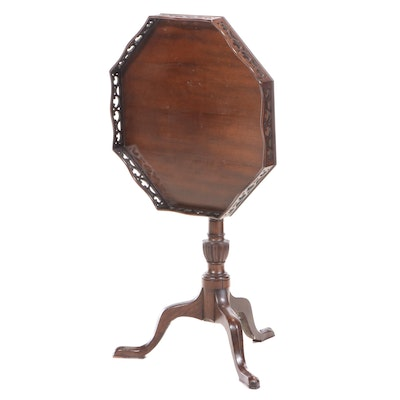 Chippendale Style Octagonal Tilt-Top SilverTable with Pierced Gallery Edge
