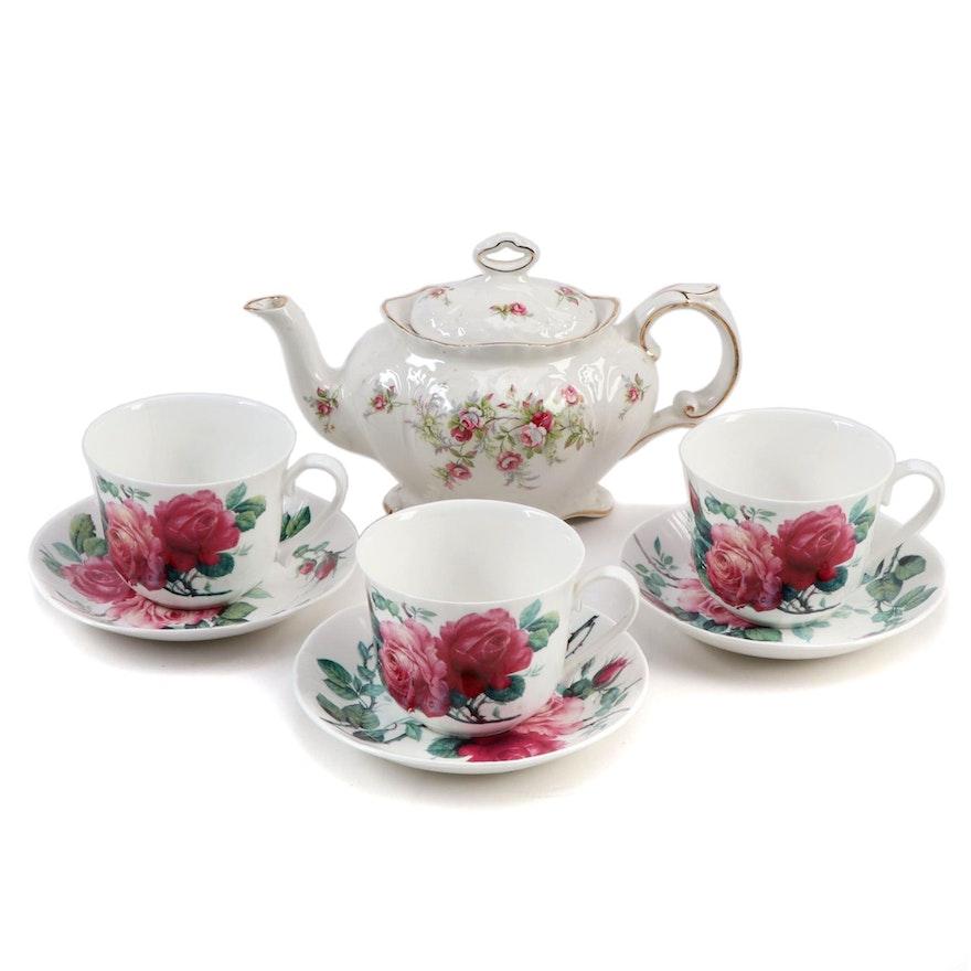 "James Kent ""Old Foley"" Teapot and Roy Kirkham ""English Rose"" Teacups"