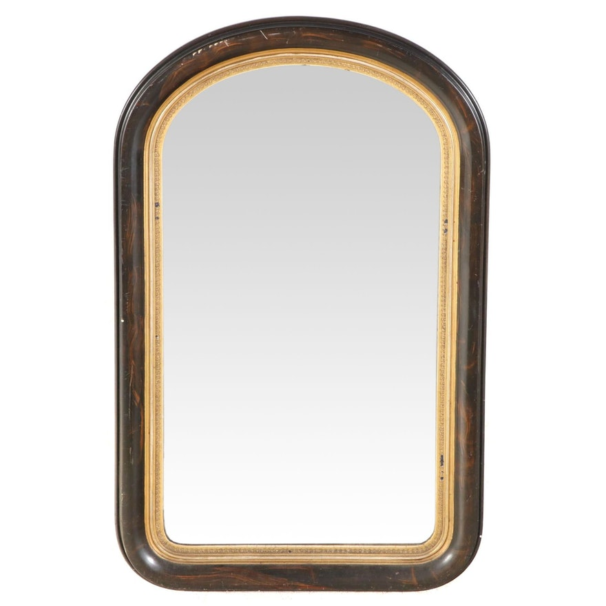 Victorian Faux Marble Wooden Framed Wall Mirror