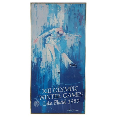 """Halftone Poster after LeRoy Neiman """"XII Olympic Winter Games,"""" 1980"""