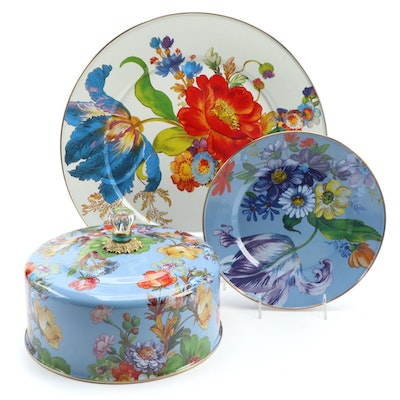 "MacKenzie-Childs Enameled ""Flower Market"" Plate, Cake Cover and Platter"