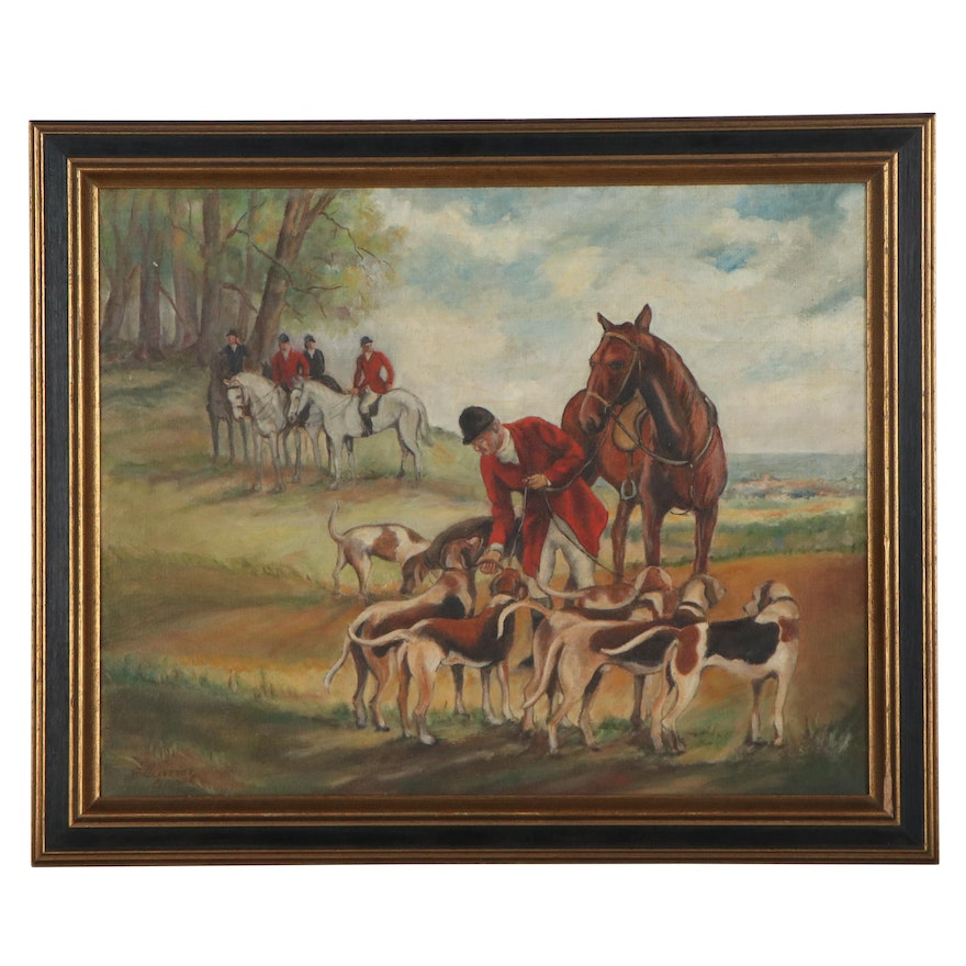 Eleanor Oppel Oil Painting of Hunting Scene, Early 20th Century