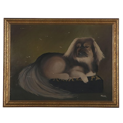 Oil Portrait of Dog, Mid-20th Century