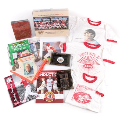 Cincinnati Reds Glass Ashtrays, Pete Rose T-Shirts, Sealed Puzzle, and More
