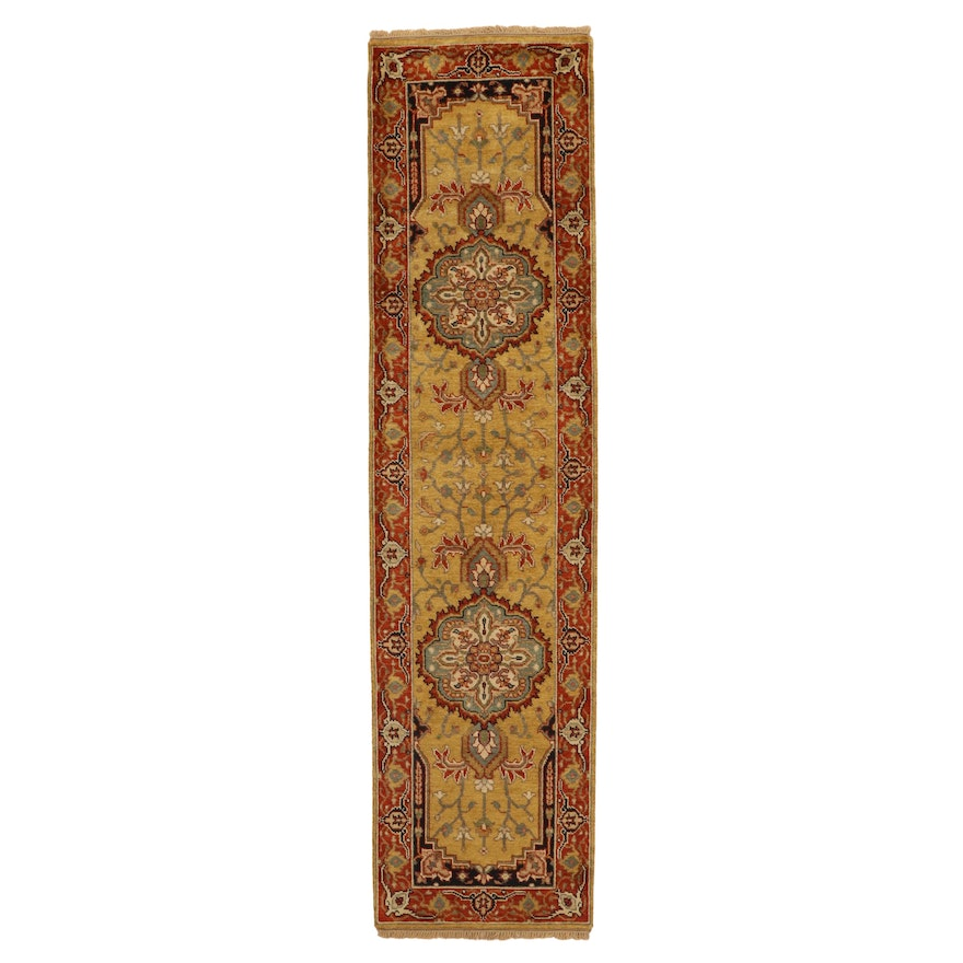 2'6 x 10'2 Hand-Knotted Indian Bergama Wool Carpet Runner