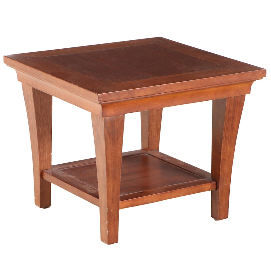 Contemporary Walnut Tiered Side Table