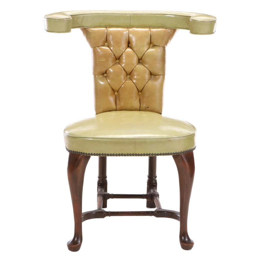 """George II Style Leather """"Cock Fighting"""" Chair"""