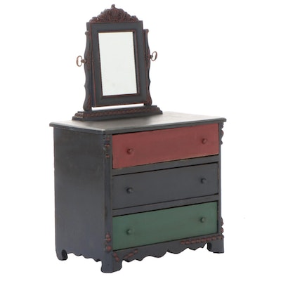 Handmade Doll Dresser with Swivel Mirror