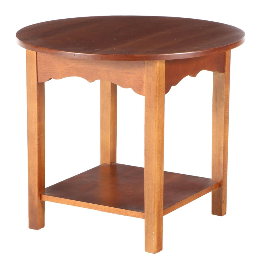 Walnut Side Table with Scalloped Apron