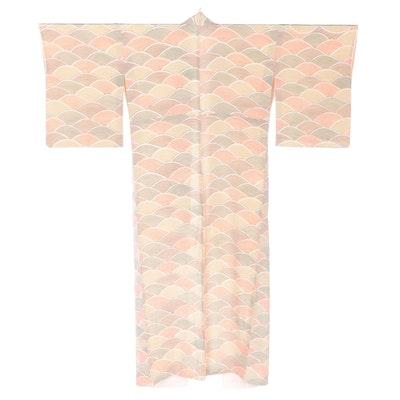Seigaiha Wave Patterned Silk Kimono, Shōwa Period
