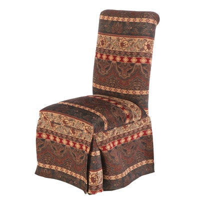 Contemporary Upholstered and Skirted Parson's Style Side Chair