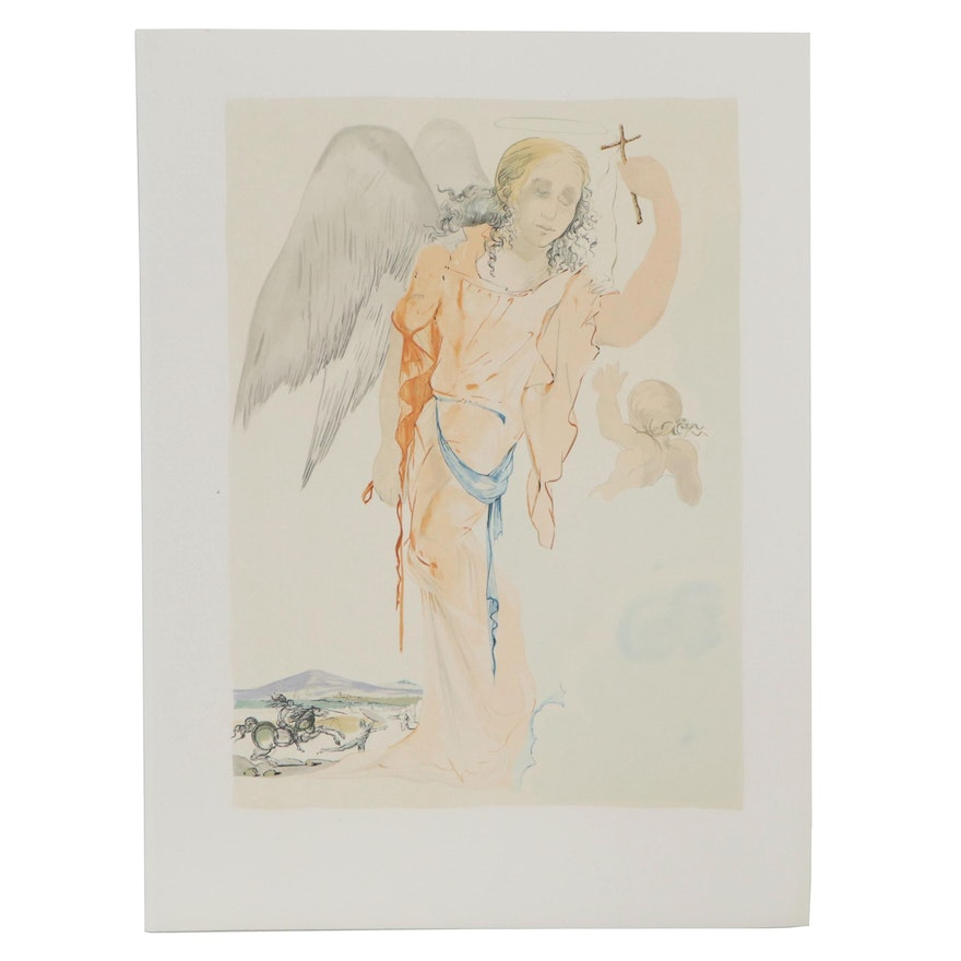 """Color Lithograph """"Angel with Cross"""""""