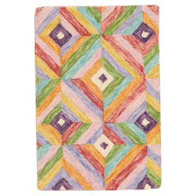 2'1 x 3'1 Hand-Tufted Indian Wool Accent Rug