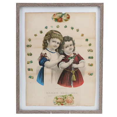 "Currier and Ives Lithograph ""Mama's Darlings"" circa 1877"