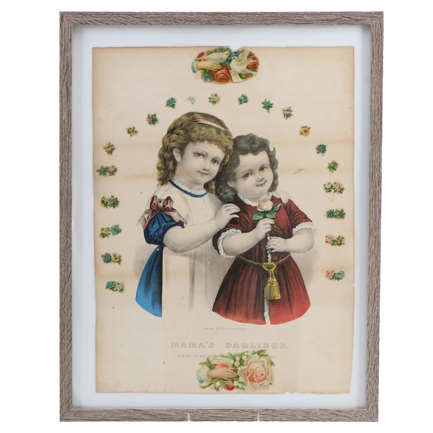 """Currier and Ives Lithograph """"Mama's Darlings"""" circa 1877"""