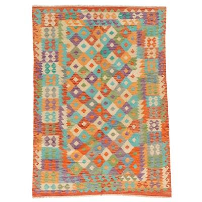 5'8 x 8'2 Handwoven Afghan Kilim Area Rug