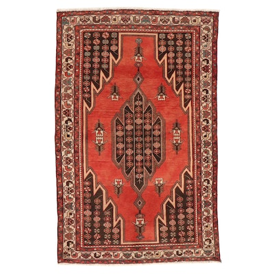 4'3 x 6'8 Hand-Knotted Persian Mazlaghan Area Rug
