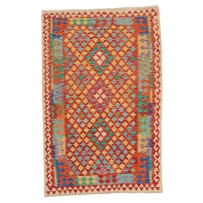 4'1 x 6'3 Handwoven Afghan Kilim Area Rug