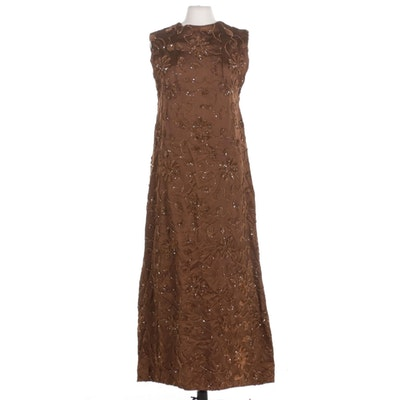 Brown Satin Sleeveless A-Line Evening Dress with Chenille Floral Appliqué