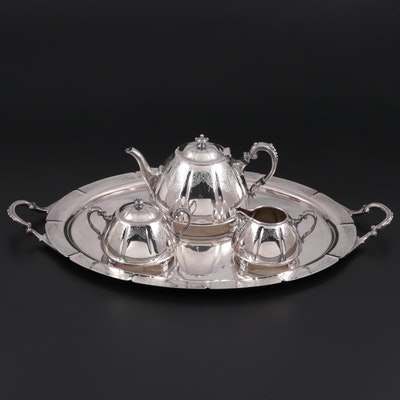"Meriden International ""Francis I"" Chased Silver Plate Tea Service and Tray"