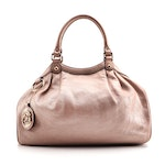 Gucci Sukey Satchel in Pale Rose Gold Glazed Grained Leather