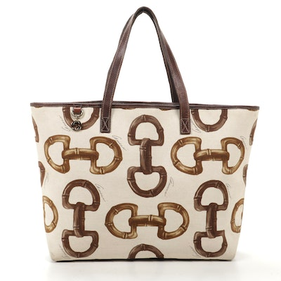 Gucci Tote in Horsebit Print Woven Canvas and Brown Leather