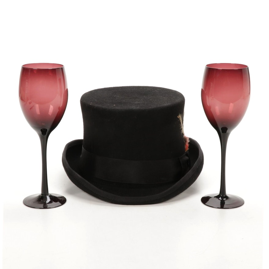 Capas Design Wool Top Hat with Feathered Band and Amethyst Wine Glasses