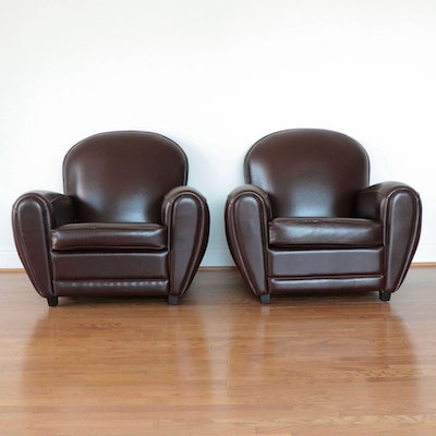 Pair of Art Deco Style Brown Vinyl Club Chairs