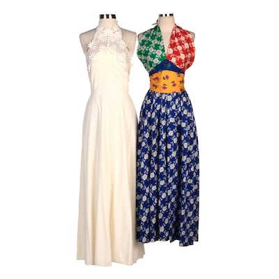 Lilli Diamond Ivory Halter Maxi with Youth Guild Multicolor Floral Halter Dress