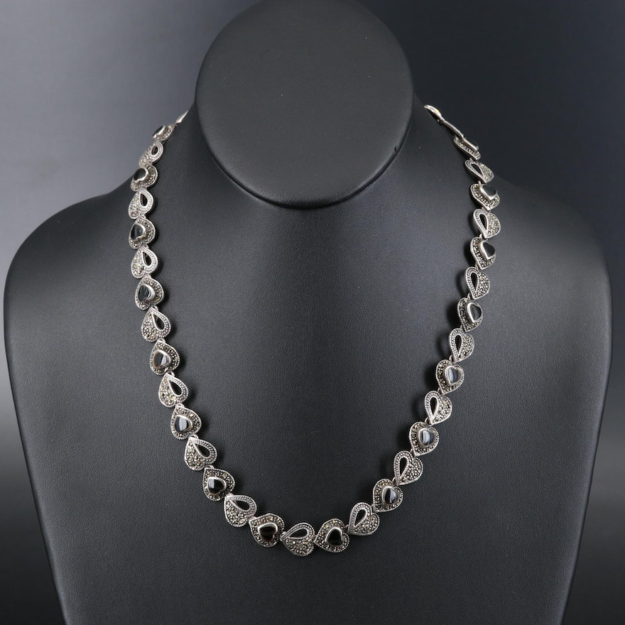 Sterling Black Onyx and Marcasite Heart Link Necklace