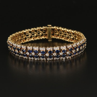18K Sapphire and 3.47 CTW Diamond Bracelet with Fluted Edge